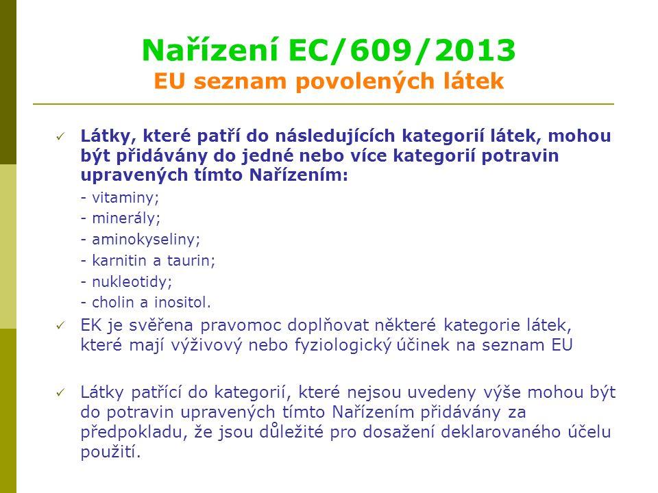 Nařízení EC/609/2013 EU seznam povolených látek Látky, které patří do následujících kategorií látek, mohou být přidávány do jedné nebo více kategorií potravin upravených tímto Nařízením: - vitaminy; - minerály; - aminokyseliny; - karnitin a taurin; - nukleotidy; - cholin a inositol.