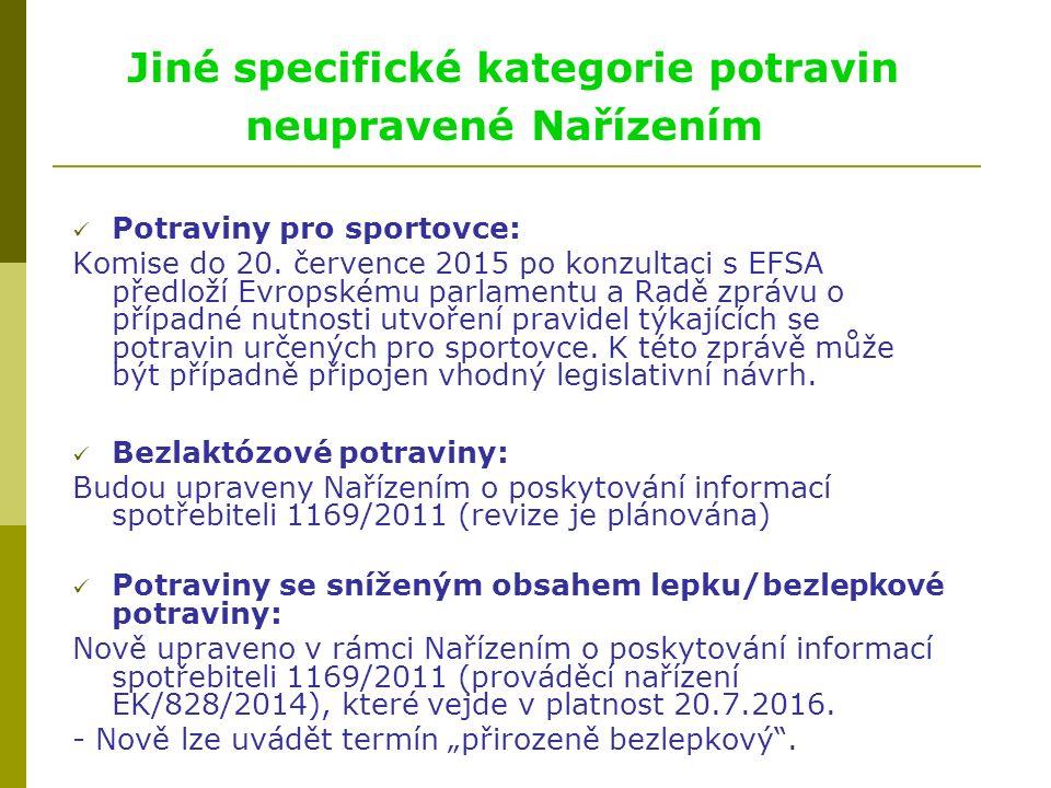 Jiné specifické kategorie potravin neupravené Nařízením Potraviny pro sportovce: Komise do 20.