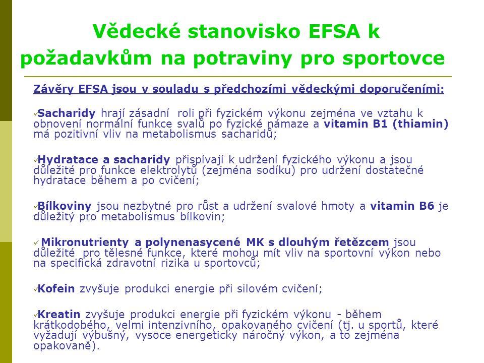 Vědecké stanovisko EFSA k požadavkům na potraviny pro sportovce Závěry EFSA jsou v souladu s předchozími vědeckými doporučeními: Sacharidy hrají zásadní roli při fyzickém výkonu zejména ve vztahu k obnovení normální funkce svalů po fyzické námaze a vitamin B1 (thiamin) má pozitivní vliv na metabolismus sacharidů; Hydratace a sacharidy přispívají k udržení fyzického výkonu a jsou důležité pro funkce elektrolytů (zejména sodíku) pro udržení dostatečné hydratace během a po cvičení; Bílkoviny jsou nezbytné pro růst a udržení svalové hmoty a vitamin B6 je důležitý pro metabolismus bílkovin; Mikronutrienty a polynenasycené MK s dlouhým řetězcem jsou důležité pro tělesné funkce, které mohou mít vliv na sportovní výkon nebo na specifická zdravotní rizika u sportovců; Kofein zvyšuje produkci energie při silovém cvičení; Kreatin zvyšuje produkci energie při fyzickém výkonu - během krátkodobého, velmi intenzivního, opakovaného cvičení (tj.