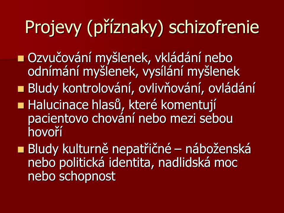 Projevy (příznaky) schizofrenie Ozvučování myšlenek, vkládání nebo odnímání myšlenek, vysílání myšlenek Ozvučování myšlenek, vkládání nebo odnímání my