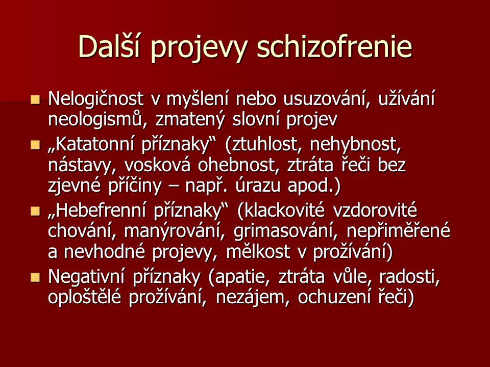 Další projevy schizofrenie Nelogičnost v myšlení nebo usuzování, užívání neologismů, zmatený slovní projev Nelogičnost v myšlení nebo usuzování, užívá