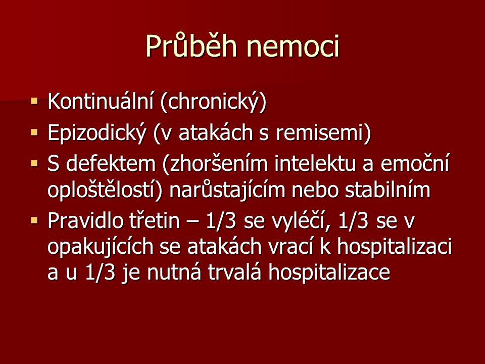 Průběh nemoci  Kontinuální (chronický)  Epizodický (v atakách s remisemi)  S defektem (zhoršením intelektu a emoční oploštělostí) narůstajícím nebo stabilním  Pravidlo třetin – 1/3 se vyléčí, 1/3 se v opakujících se atakách vrací k hospitalizaci a u 1/3 je nutná trvalá hospitalizace