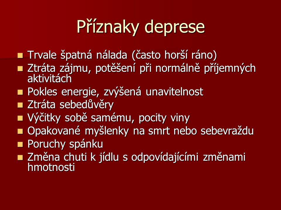 Příznaky deprese Trvale špatná nálada (často horší ráno) Trvale špatná nálada (často horší ráno) Ztráta zájmu, potěšení při normálně příjemných aktivi