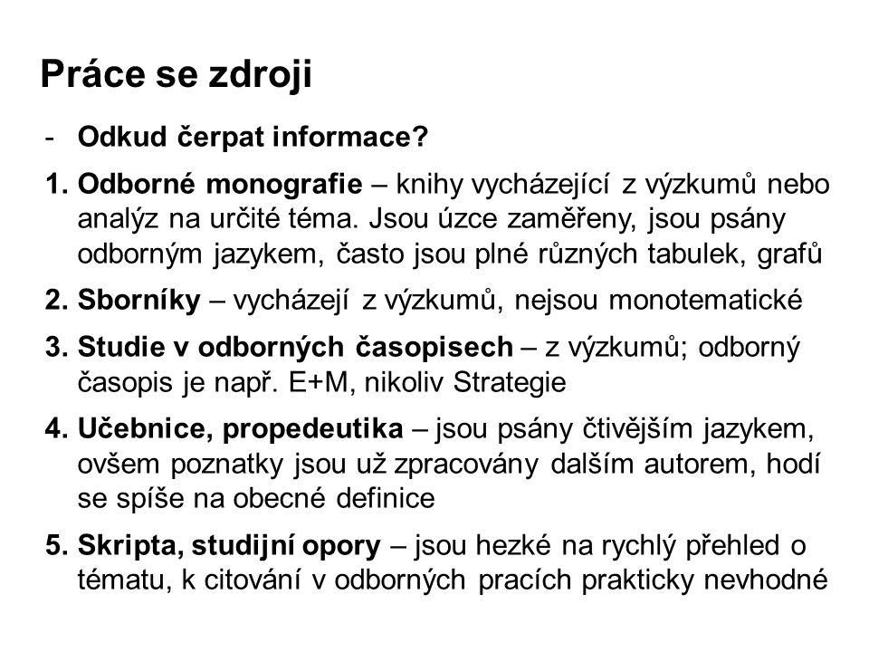 - Titulní strana - Obsah - Úvod - Hlavní stať - Teoretická část - Analytická / Praktická část - Projektová část - Závěr - Seznam použité literatury - Přílohy II.