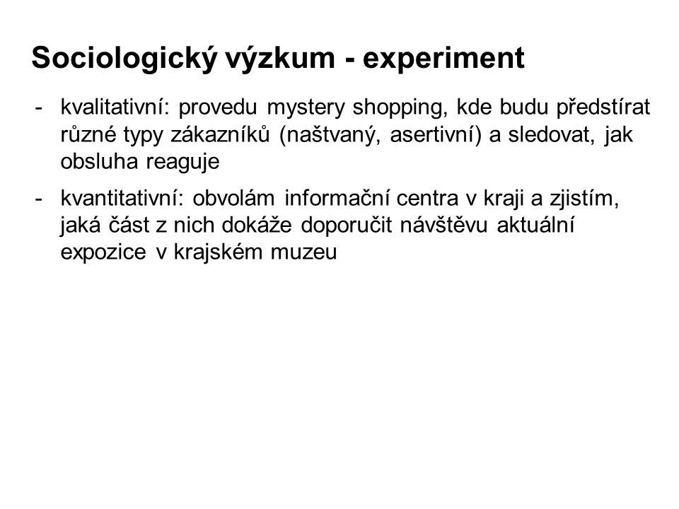 Sociologický výzkum - experiment -kvalitativní: provedu mystery shopping, kde budu předstírat různé typy zákazníků (naštvaný, asertivní) a sledovat, jak obsluha reaguje -kvantitativní: obvolám informační centra v kraji a zjistím, jaká část z nich dokáže doporučit návštěvu aktuální expozice v krajském muzeu