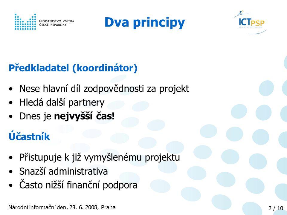 Národní informační den, 23. 6. 2008, Praha 2 / 10 Předkladatel (koordinátor) Nese hlavní díl zodpovědnosti za projekt Hledá další partnery Dnes je nej