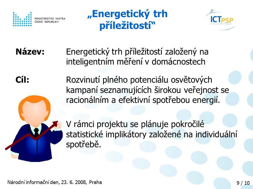 """Národní informační den, 23. 6. 2008, Praha 9 / 10 """"Energetický trh příležitostí"""" Název: Energetický trh příležitostí založený na inteligentním měření"""