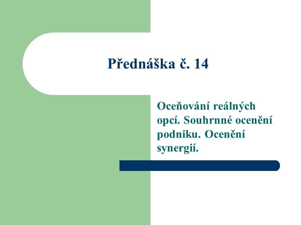 Přednáška č. 14 Oceňování reálných opcí. Souhrnné ocenění podniku. Ocenění synergií.