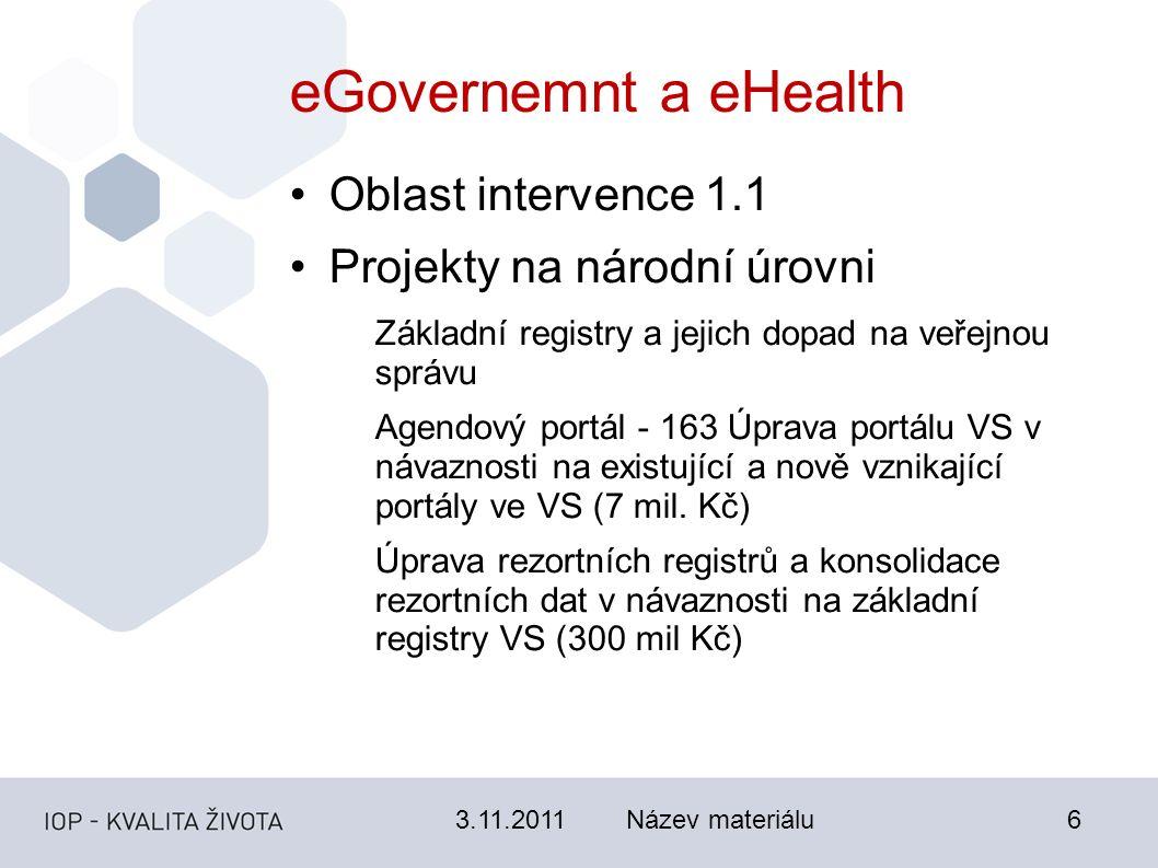 3.11.2011Název materiálu6 eGovernemnt a eHealth Oblast intervence 1.1 Projekty na národní úrovni Základní registry a jejich dopad na veřejnou správu Agendový portál - 163 Úprava portálu VS v návaznosti na existující a nově vznikající portály ve VS (7 mil.