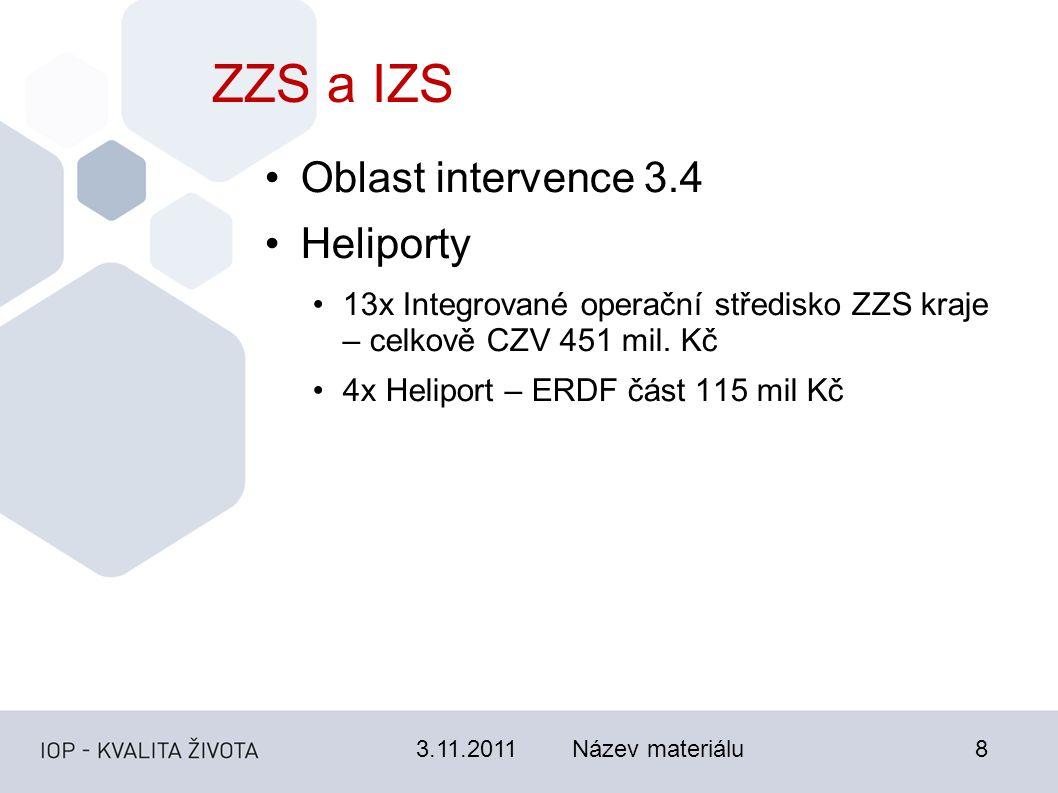 3.11.2011Název materiálu8 ZZS a IZS Oblast intervence 3.4 Heliporty 13x Integrované operační středisko ZZS kraje – celkově CZV 451 mil.