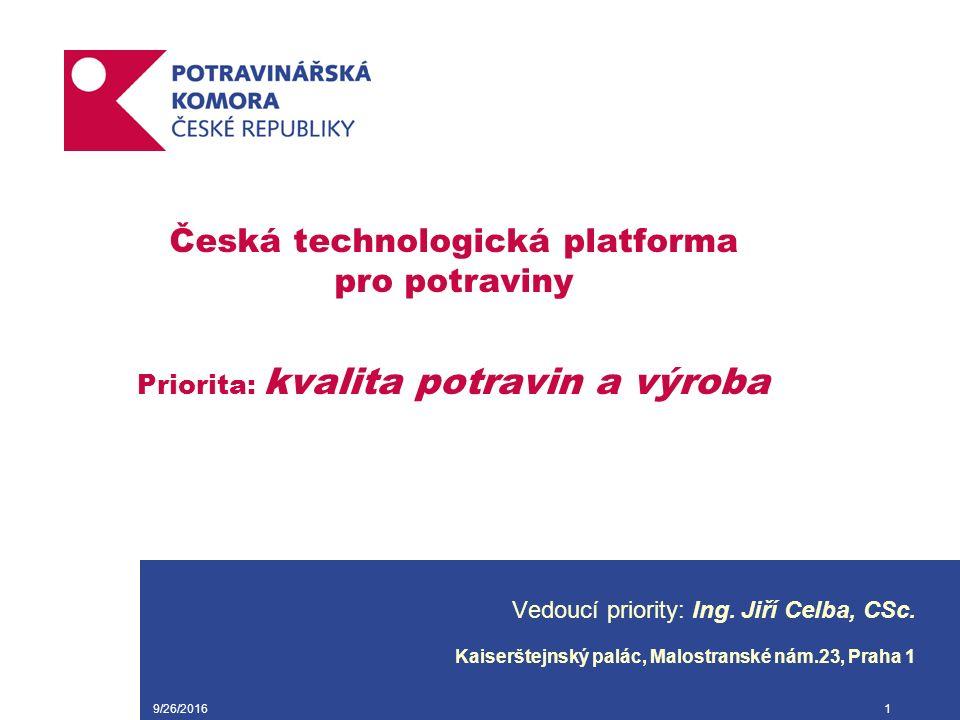 9/26/20161 Česká technologická platforma pro potraviny Priorita: kvalita potravin a výroba Vedoucí priority: Ing.