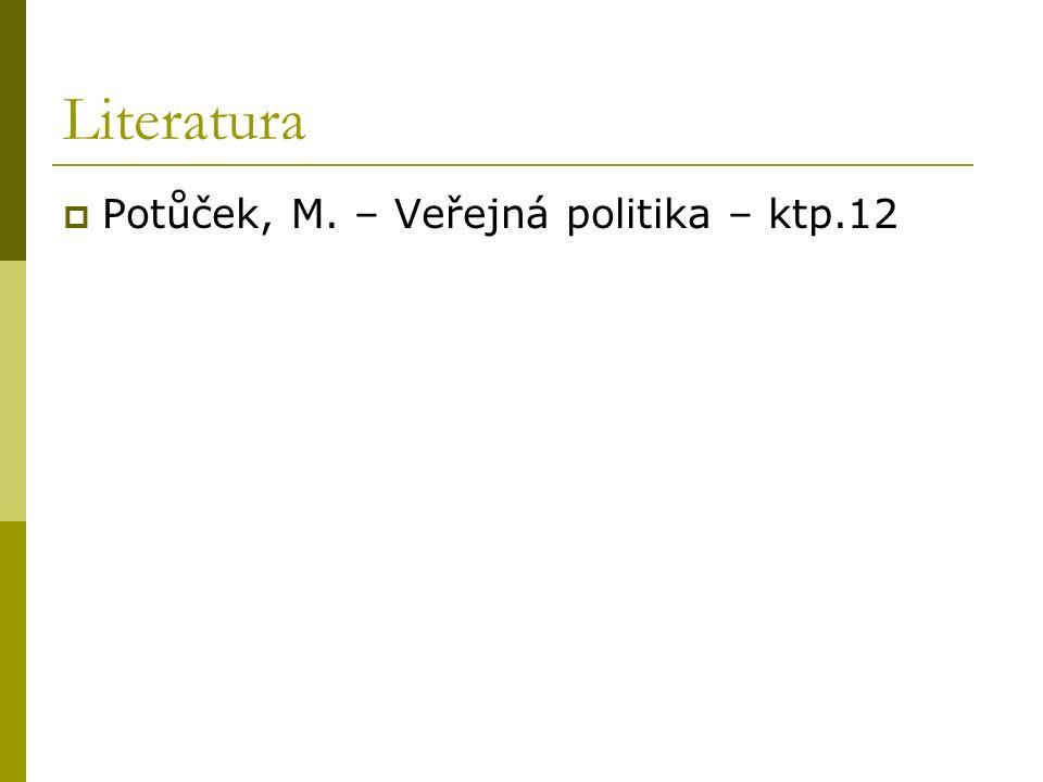 Literatura  Potůček, M. – Veřejná politika – ktp.12