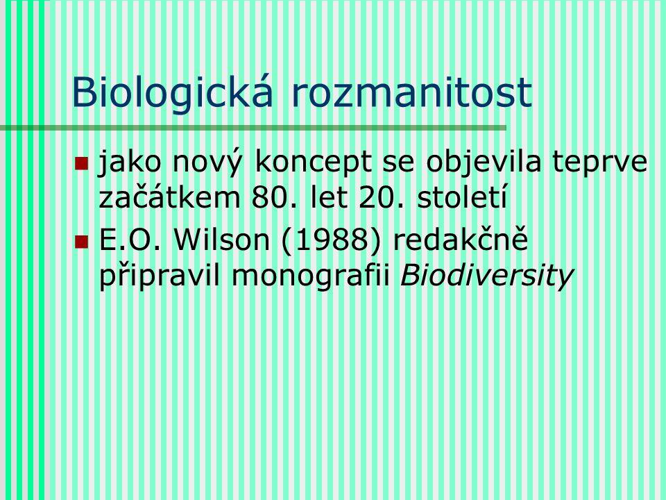 Biologická rozmanitost jako nový koncept se objevila teprve začátkem 80. let 20. století E.O. Wilson (1988) redakčně připravil monografii Biodiversity