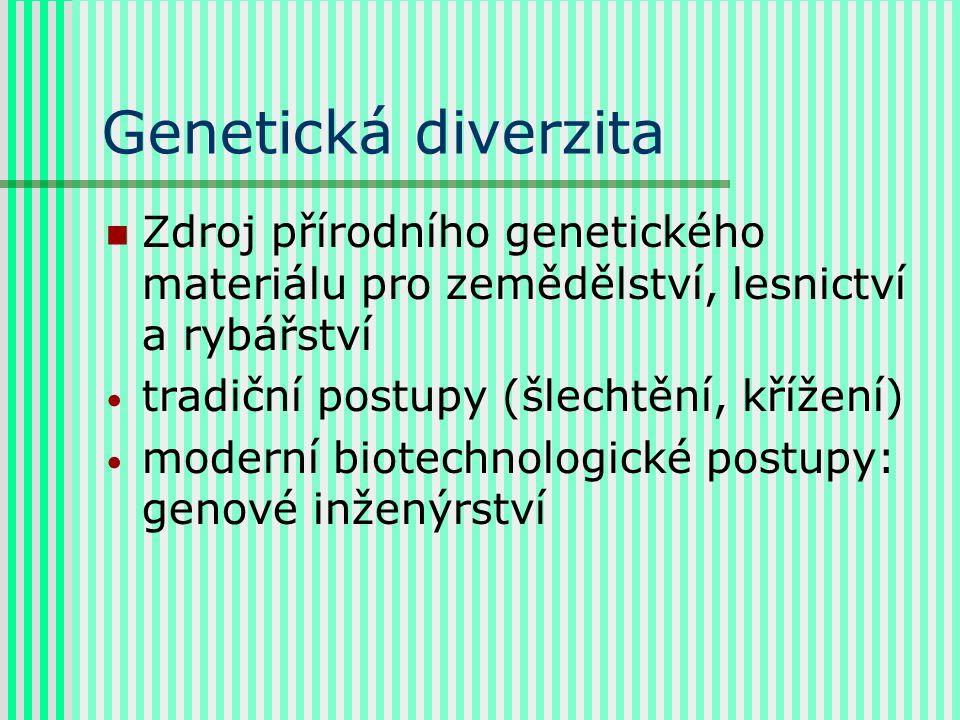 Genetická diverzita Zdroj přírodního genetického materiálu pro zemědělství, lesnictví a rybářství tradiční postupy (šlechtění, křížení) moderní biotechnologické postupy: genové inženýrství
