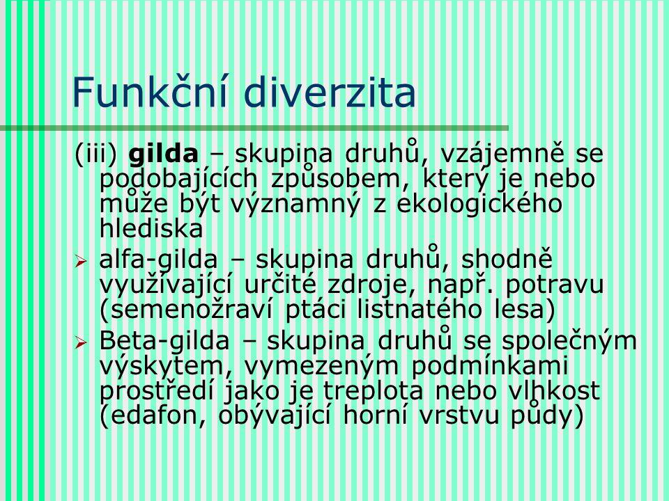 Funkční diverzita (iii) gilda – skupina druhů, vzájemně se podobajících způsobem, který je nebo může být významný z ekologického hlediska  alfa-gilda – skupina druhů, shodně využívající určité zdroje, např.