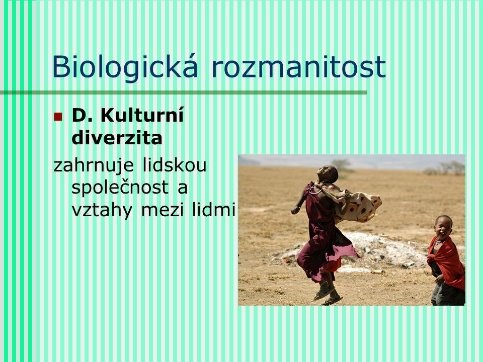 Biologická rozmanitost D. Kulturní diverzita zahrnuje lidskou společnost a vztahy mezi lidmi