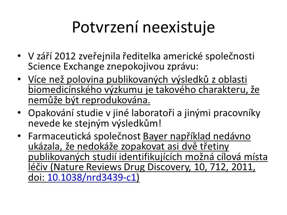 Potvrzení neexistuje V září 2012 zveřejnila ředitelka americké společnosti Science Exchange znepokojivou zprávu: Více než polovina publikovaných výsledků z oblasti biomedicínského výzkumu je takového charakteru, že nemůže být reprodukována.