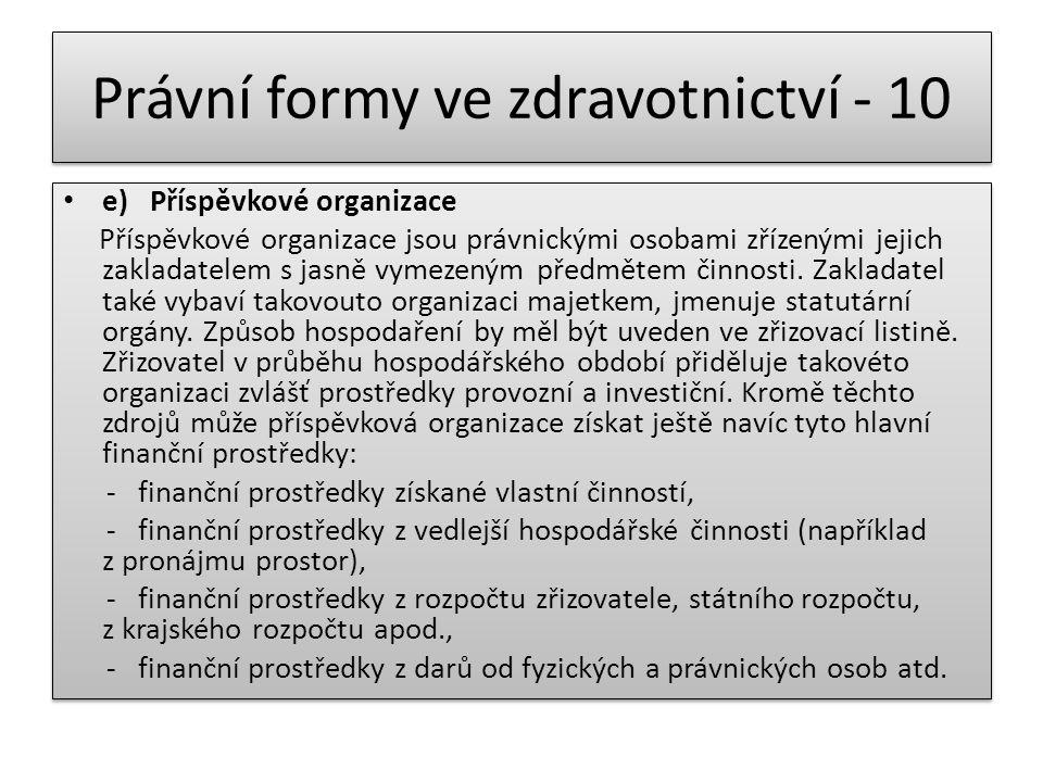Právní formy ve zdravotnictví - 10 e) Příspěvkové organizace Příspěvkové organizace jsou právnickými osobami zřízenými jejich zakladatelem s jasně vym