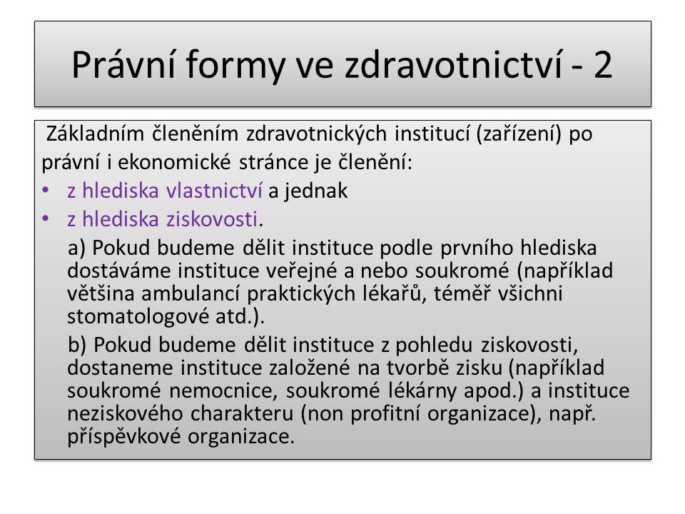 Právní formy ve zdravotnictví - 2 Základním členěním zdravotnických institucí (zařízení) po právní i ekonomické stránce je členění: z hlediska vlastni