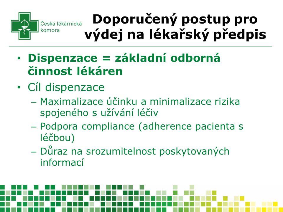 Doporučený postup pro výdej na lékařský předpis Dispenzace = základní odborná činnost lékáren Cíl dispenzace – Maximalizace účinku a minimalizace rizika spojeného s užívání léčiv – Podpora compliance (adherence pacienta s léčbou) – Důraz na srozumitelnost poskytovaných informací