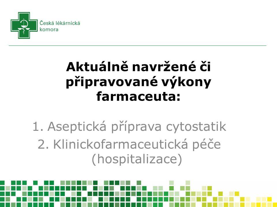 Aktuálně navržené či připravované výkony farmaceuta: 1.Aseptická příprava cytostatik 2.Klinickofarmaceutická péče (hospitalizace)