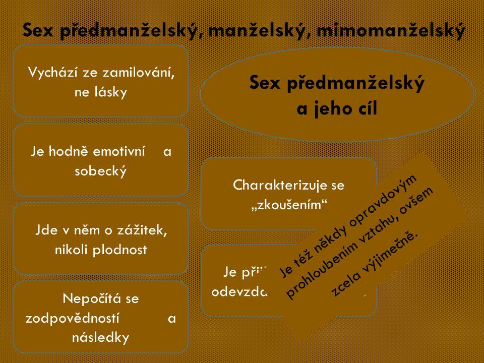 """Sex předmanželský, manželský, mimomanželský Sex předmanželský a jeho cíl Vychází ze zamilování, ne lásky Je hodně emotivní a sobecký Jde v něm o zážitek, nikoli plodnost Nepočítá se zodpovědností a následky Charakterizuje se """"zkoušením Je přijímáním, nikoliv odevzdáním se druhému Je též někdy opravdovým prohloubením vztahu, ovšem zcela výjimečně."""
