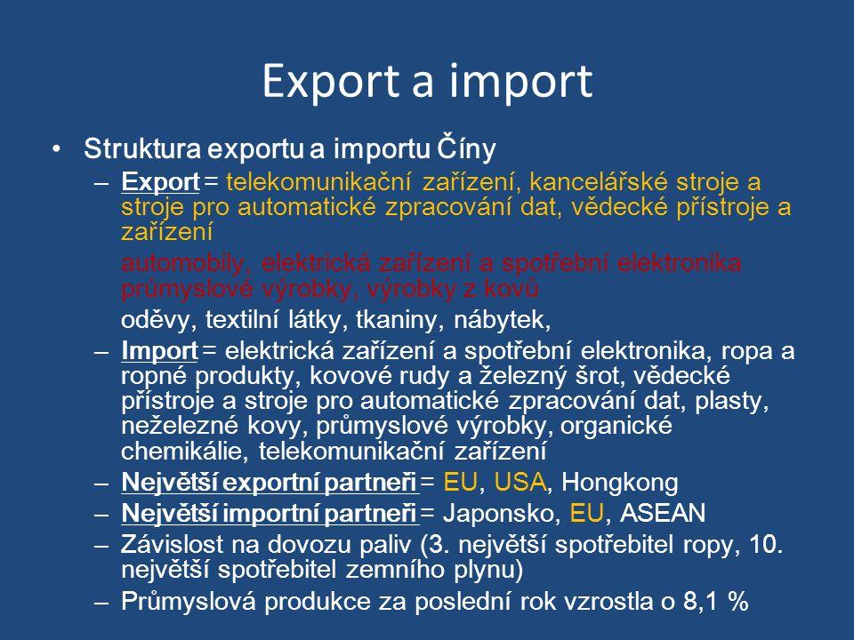 Export a import Struktura exportu a importu Číny – Export = telekomunikační zařízení, kancelářské stroje a stroje pro automatické zpracování dat, vědecké přístroje a zařízení automobily, elektrická zařízení a spotřební elektronika průmyslové výrobky, výrobky z kovů oděvy, textilní látky, tkaniny, nábytek, – Import = elektrická zařízení a spotřební elektronika, ropa a ropné produkty, kovové rudy a železný šrot, vědecké přístroje a stroje pro automatické zpracování dat, plasty, neželezné kovy, průmyslové výrobky, organické chemikálie, telekomunikační zařízení – Největší exportní partneři = EU, USA, Hongkong – Největší importní partneři = Japonsko, EU, ASEAN – Závislost na dovozu paliv (3.