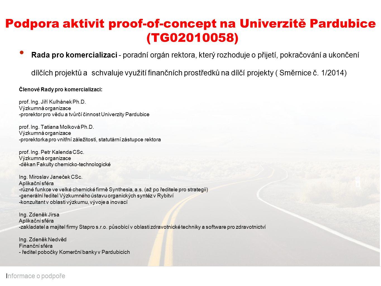 Podpora aktivit proof-of-concept na Univerzitě Pardubice (TG02010058) I nformace o podpoře Rada pro komercializaci - poradní orgán rektora, který rozhoduje o přijetí, pokračování a ukončení dílčích projektů a schvaluje využití finančních prostředků na dílčí projekty ( Směrnice č.