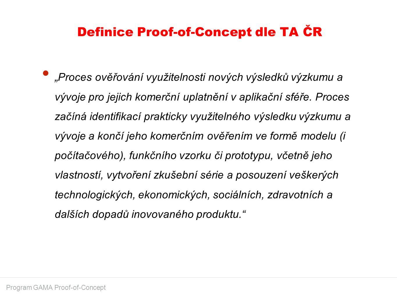 """Definice Proof-of-Concept dle TA ČR Program GAMA Proof-of-Concept """"Proces ověřování využitelnosti nových výsledků výzkumu a vývoje pro jejich komerční uplatnění v aplikační sféře."""