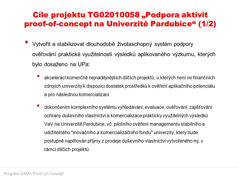 """Cíle projektu TG02010058 """"Podpora aktivit proof-of-concept na Univerzitě Pardubice"""" (1/2) Program GAMA Proof-of-Concept Vytvořit a stabilizovat dlouho"""