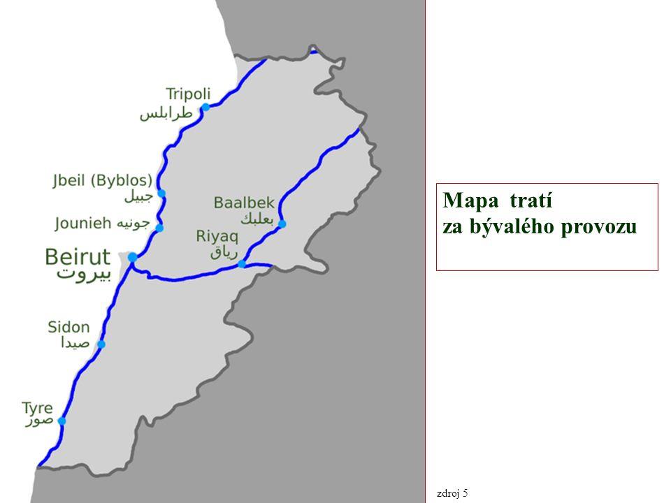 Mapa tratí za bývalého provozu zdroj 5