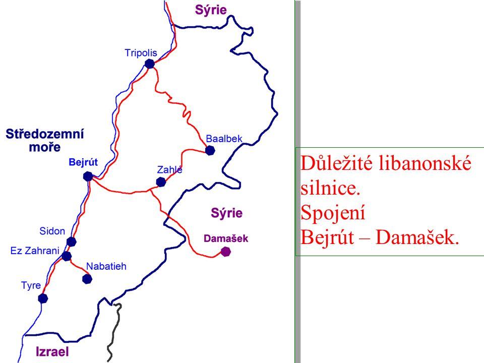 Důležité libanonské silnice. Spojení Bejrút – Damašek.