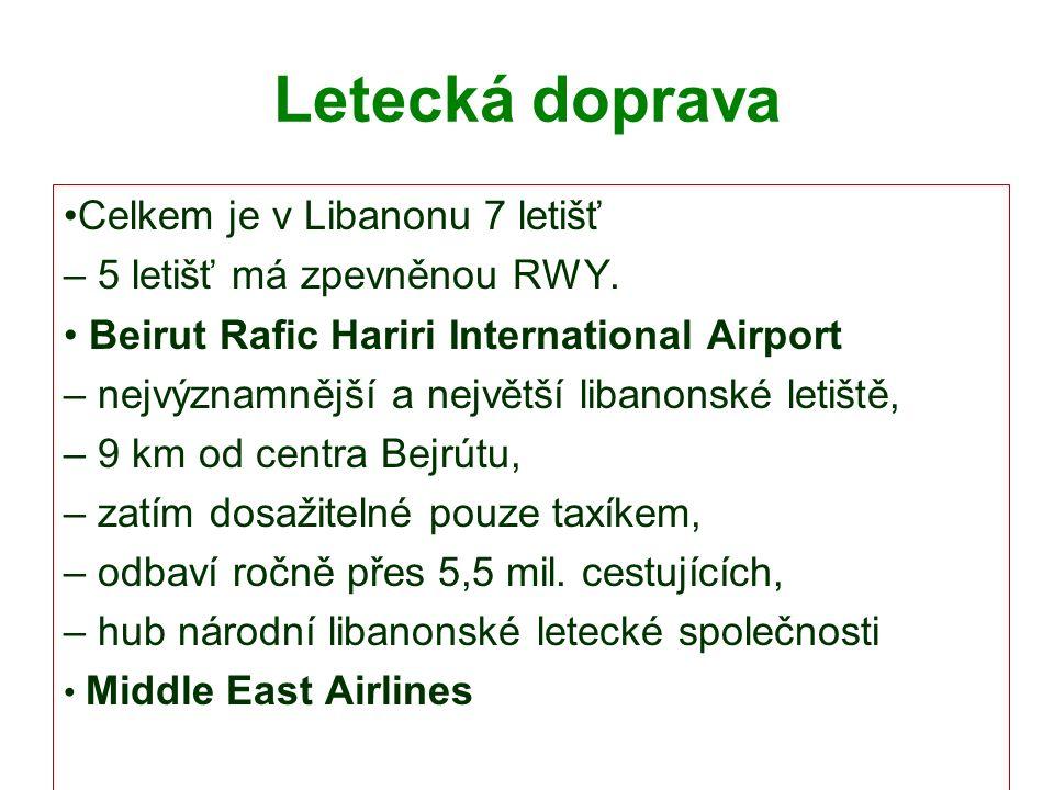 Letecká doprava Celkem je v Libanonu 7 letišť – 5 letišť má zpevněnou RWY.