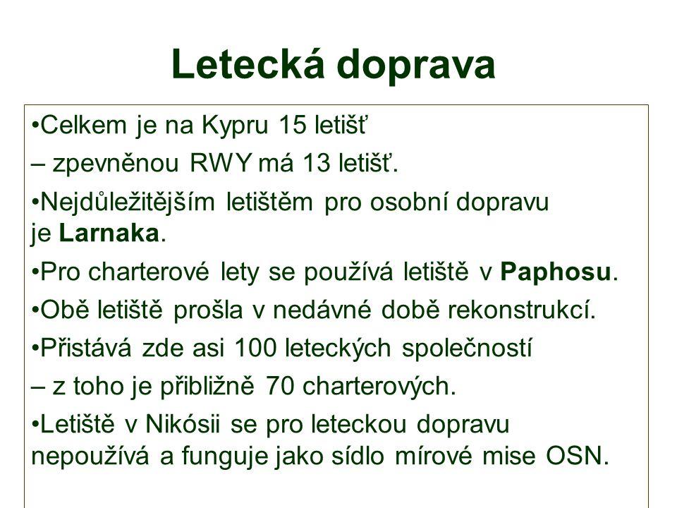 Letecká doprava Celkem je na Kypru 15 letišť – zpevněnou RWY má 13 letišť.