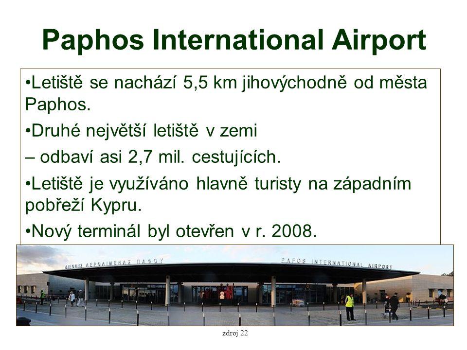 Paphos International Airport Letiště se nachází 5,5 km jihovýchodně od města Paphos.