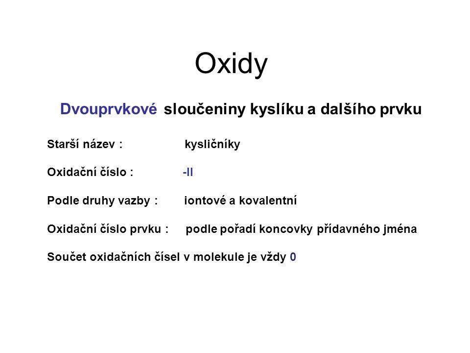 Oxidy Dvouprvkové sloučeniny kyslíku a dalšího prvku Starší název : kysličníky Oxidační číslo : -II Podle druhy vazby : iontové a kovalentní Oxidační číslo prvku : podle pořadí koncovky přídavného jména Součet oxidačních čísel v molekule je vždy 0