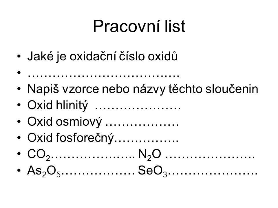 Pracovní list Jaké je oxidační číslo oxidů ……………………………….