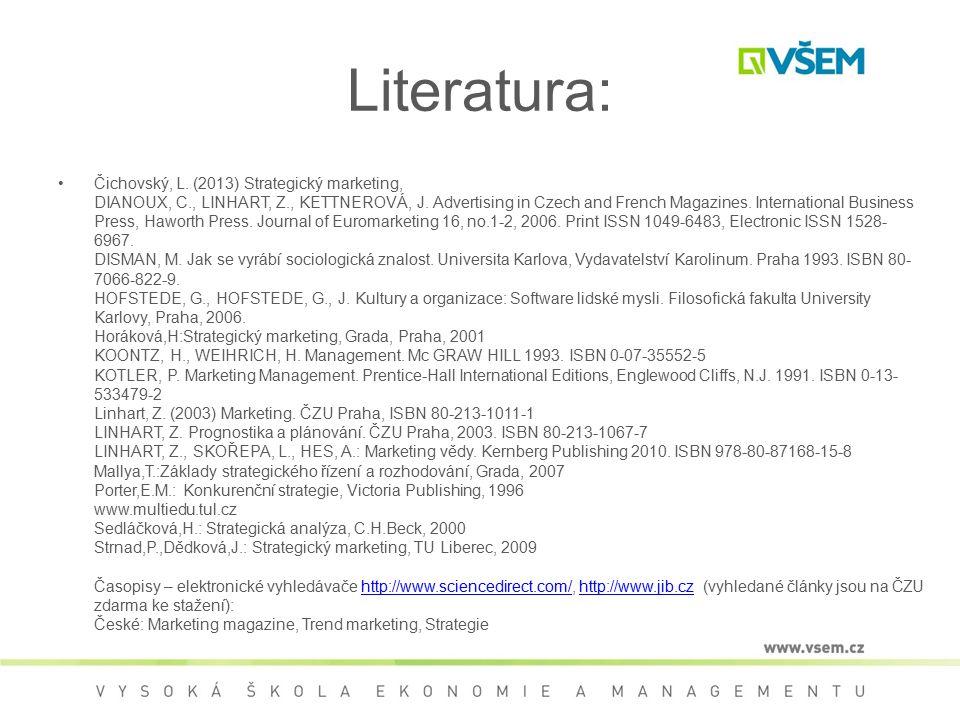 Literatura: Čichovský, L. (2013) Strategický marketing, DIANOUX, C., LINHART, Z., KETTNEROVÁ, J. Advertising in Czech and French Magazines. Internatio