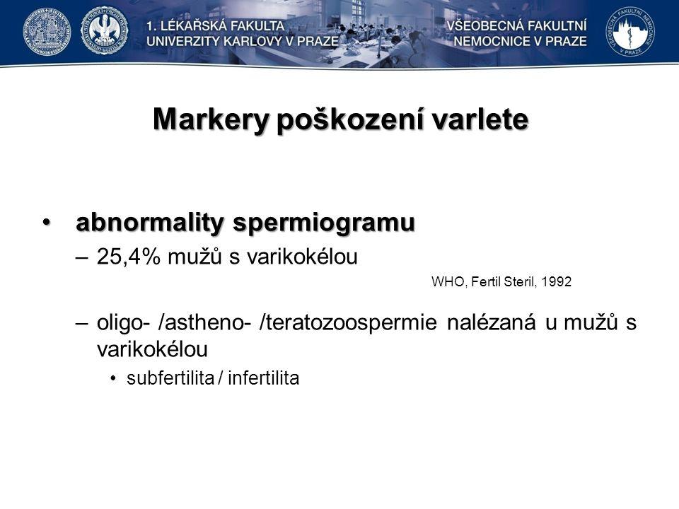 Markery poškození varlete abnormality spermiogramuabnormality spermiogramu –25,4% mužů s varikokélou –oligo- /astheno- /teratozoospermie nalézaná u mužů s varikokélou subfertilita / infertilita WHO, Fertil Steril, 1992