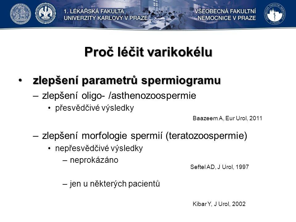 Proč léčit varikokélu zlepšení parametrů spermiogramuzlepšení parametrů spermiogramu –zlepšení oligo- /asthenozoospermie přesvědčivé výsledky –zlepšení morfologie spermií (teratozoospermie) nepřesvědčivé výsledky –neprokázáno –jen u některých pacientů Baazeem A, Eur Urol, 2011 Seftel AD, J Urol, 1997 Kibar Y, J Urol, 2002
