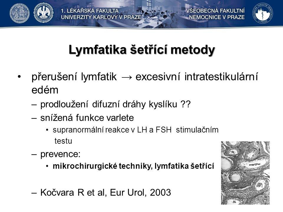 Lymfatika šetřící metody přerušení lymfatik → excesivní intratestikulární edém –prodloužení difuzní dráhy kyslíku ?.