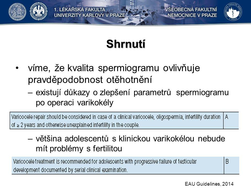 Shrnutí víme, že kvalita spermiogramu ovlivňuje pravděpodobnost otěhotnění –existují důkazy o zlepšení parametrů spermiogramu po operaci varikokély –většina adolescentů s klinickou varikokélou nebude mít problémy s fertilitou EAU Guidelines, 2014