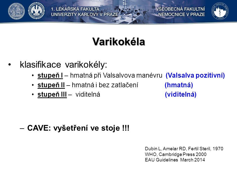 Varikokéla klasifikace varikokély: stupeň I – hmatná při Valsalvova manévru (Valsalva pozitivní) stupeň II – hmatná i bez zatlačení (hmatná) stupeň III – viditelná (viditelná) –CAVE: vyšetření ve stoje !!.