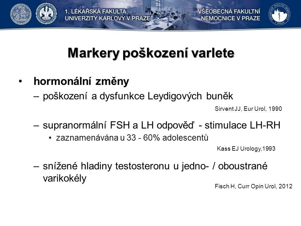 Markery poškození varlete hormonální změny –poškození a dysfunkce Leydigových buněk –supranormální FSH a LH odpověď - stimulace LH-RH zaznamenávána u 33 - 60% adolescentů –snížené hladiny testosteronu u jedno- / oboustrané varikokély Kass EJ Urology,1993 Fisch H, Curr Opin Urol, 2012 Sirvent JJ, Eur Urol, 1990