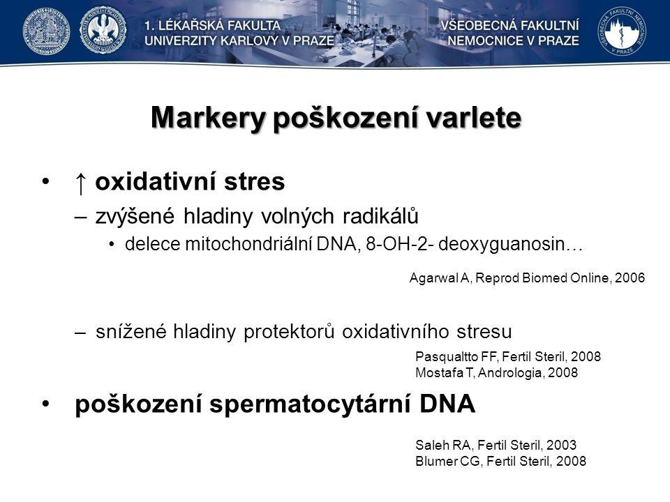 Markery poškození varlete ↑ oxidativní stres –zvýšené hladiny volných radikálů delece mitochondriální DNA, 8-OH-2- deoxyguanosin… –snížené hladiny protektorů oxidativního stresu poškození spermatocytární DNA Agarwal A, Reprod Biomed Online, 2006 Saleh RA, Fertil Steril, 2003 Blumer CG, Fertil Steril, 2008 Pasqualtto FF, Fertil Steril, 2008 Mostafa T, Andrologia, 2008