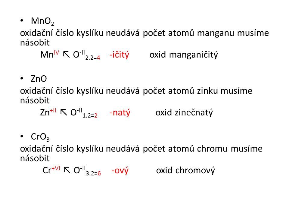 MnO 2 oxidační číslo kyslíku neudává počet atomů manganu musíme násobit Mn IV ↖ O -II 2.2=4 -ičitý oxid manganičitý ZnO oxidační číslo kyslíku neudává