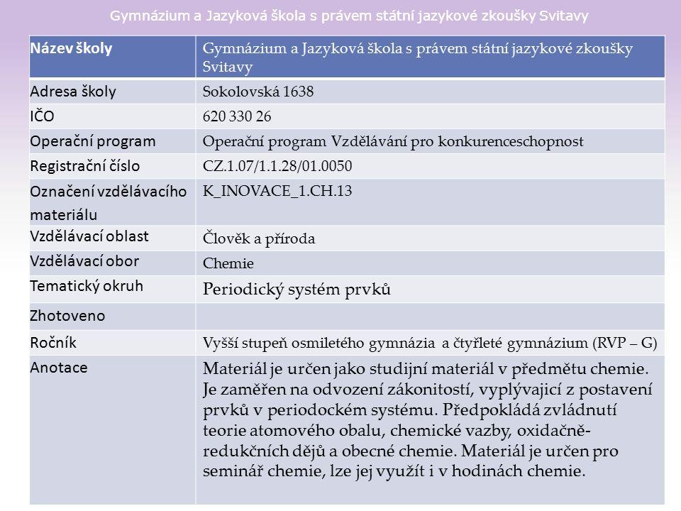 Gymnázium a Jazyková škola s právem státní jazykové zkoušky Svitavy Materiál je určen pro bezplatné používání pro potřeby výuky a vzdělávání na všech typech škol a školských zařízeních.