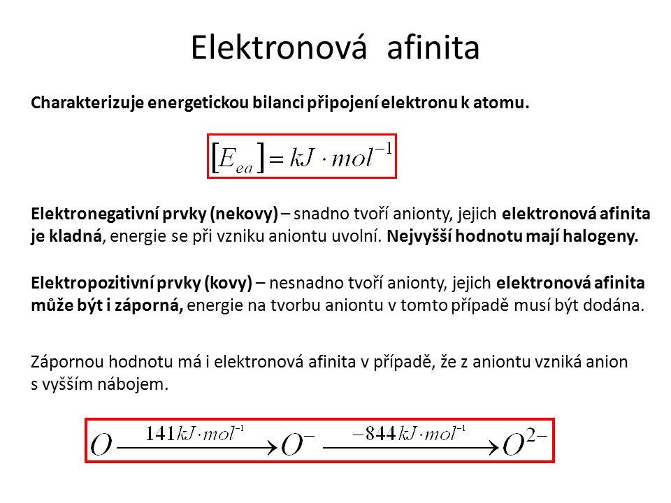 Elektronová afinita Charakterizuje energetickou bilanci připojení elektronu k atomu.