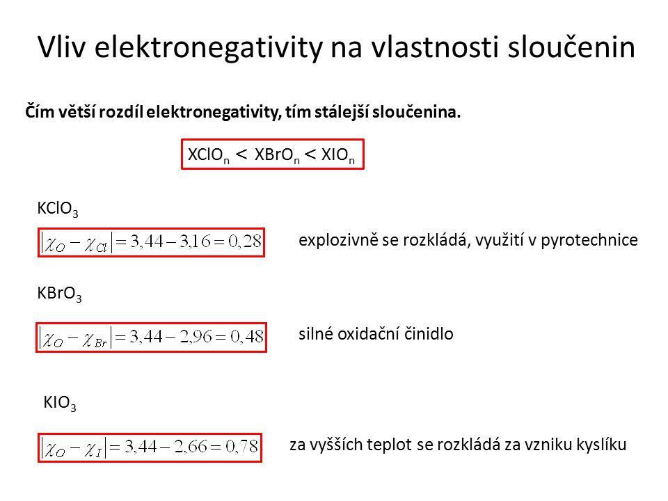 Vliv elektronegativity na vlastnosti sloučenin Čím větší rozdíl elektronegativity, tím stálejší sloučenina. XClO n < XBrO n < XIO n KClO 3 explozivně