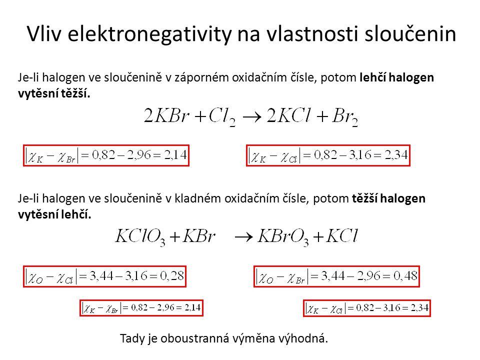 Vliv elektronegativity na vlastnosti sloučenin Je-li halogen ve sloučenině v záporném oxidačním čísle, potom lehčí halogen vytěsní těžší. Je-li haloge